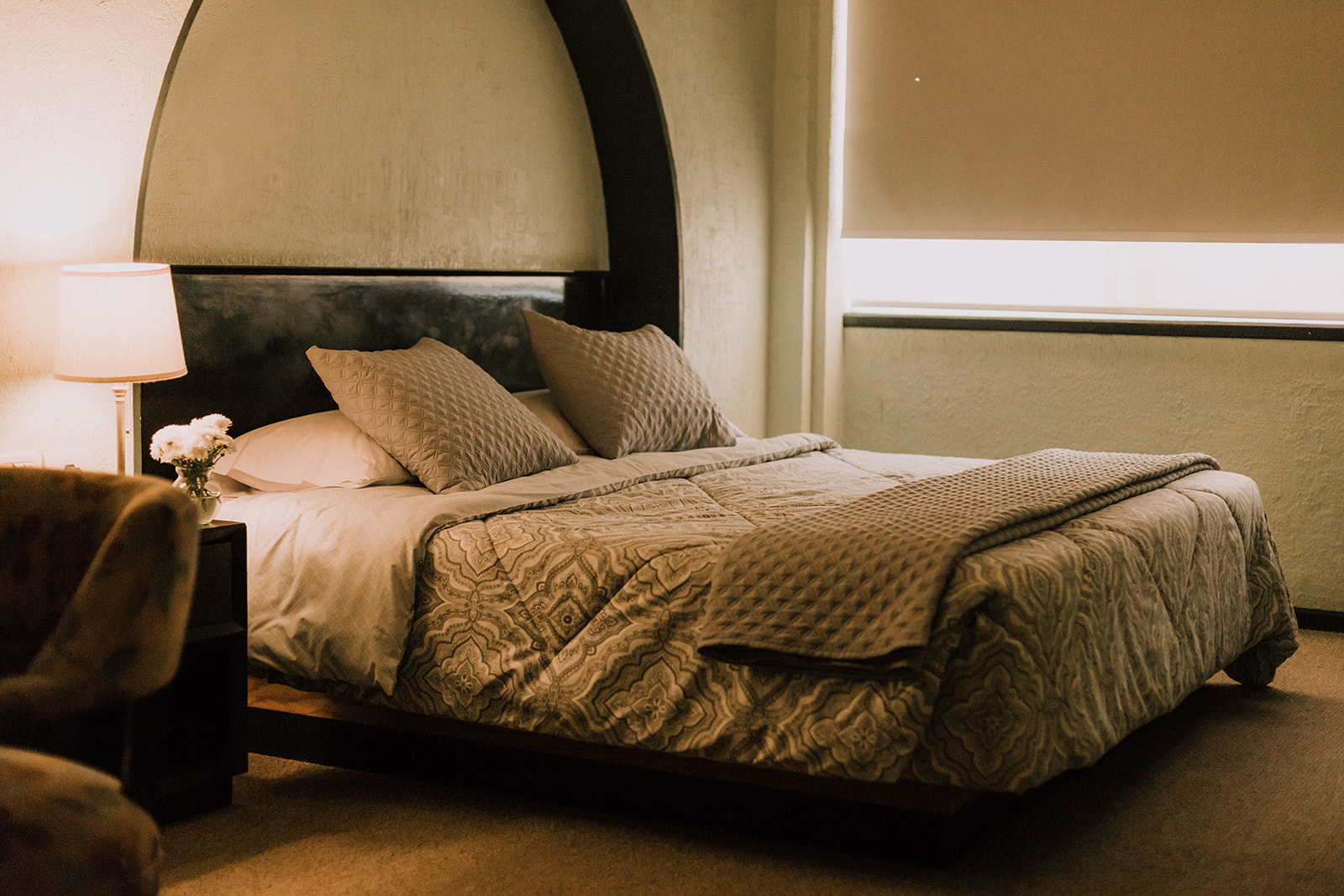 Cama King Size, persianas black-out